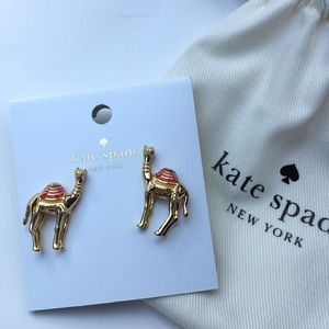 NWT Kate Spade Camel Stud Earrings Gold Color